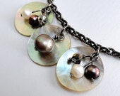 Shell necklace - pearl necklace - beach necklace - abstract necklace - coffee necklace - chocolate pearl - shabby chic - boho necklace