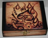 ACE OF SKULLS restored sepia cigar box flames poker spades