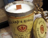 Vintage Antique Callard Bowsers Cream-Line Toffee Tin- Hanpoured Natural Soy Candle- Coconut Hibiscus