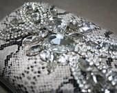 Stunning snakeskin Crystal embellished evening clutch