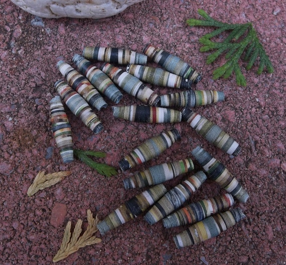 Mossy Pond in the Woods--2cm Paper Beads of Aqua and Greens for DIY Jewelry Making--lot of 18