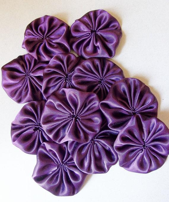 Autumn Wedding Plum Colored Shiny Satin Fabric Yoyo Flowers--lot of 12