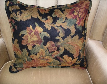 Floral Chenille Decorative Pillow Cover with custom made piping