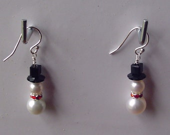 Christmas snowmen earrings