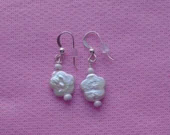 White Glass Beaded Pierced Earrings