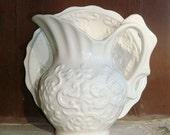 White Ceramic Enesco Pitcher and Bowl