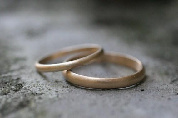 Custom Listing for Sarah / 14k white gold half round wedding band set (2 rings)