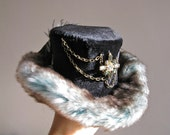 Steampunk/Gothic jeweled mini top hat with fur