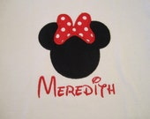 Minnie Mouse with Bow Appliquéd Shirt for Girls with Monogram - Fully Customizable