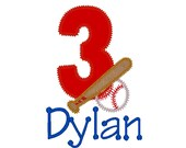 Baseball / Softball and Bat with Number Appliquéd Number Shirt with Monogram - Fully Customizable
