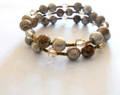 Gold and Topaz Beaded Memory Wire Bracelet - Decorative Beads, Metallic Beads
