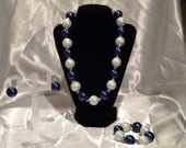 Navy Blue and White Pearl Set