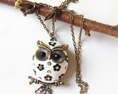 Snow Chubby Owlette Owl Necklace - Antique Bronze Style  Owl. Christmas gift ---gift for her.owl necklace