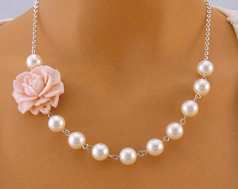 Baby Pink Rose  Bridesmaid Flower Necklace