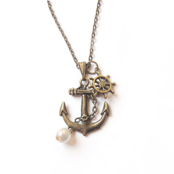 Sailor's Pride anchor necklace. Christmas gift -gift for her.
