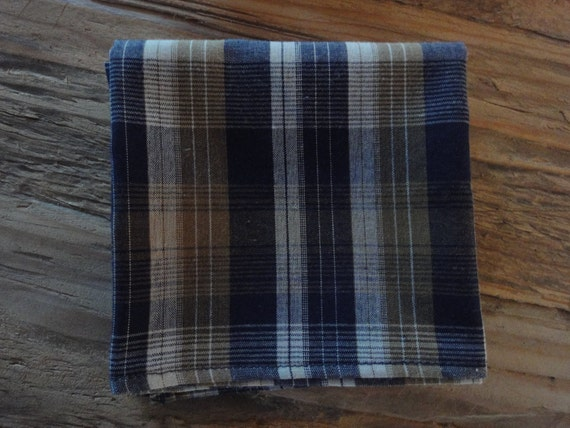 Reserved Navy and Gold Plaid Handkerchief or Pocket Squares