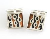 Victoria Varga Square Tribal cuff links /3298y Copper & Black