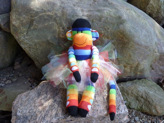 princess sock monkey, sock monkey tutu, funny sock monkey doll, handmade sock monkey, rainbow sock monkey, blue, green, red, yellow, orange