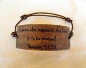 Faux Leather Background Proverbs 31:30 Scripture Bracelet