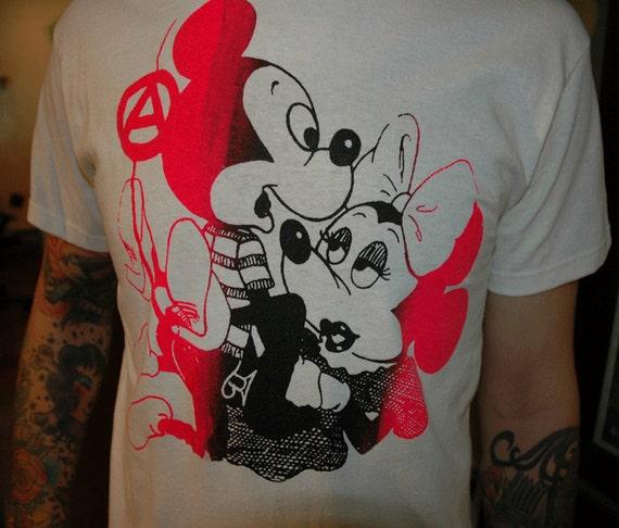 Punk, Seditionary, 77, silkscreened mickey/mini printed white shirt