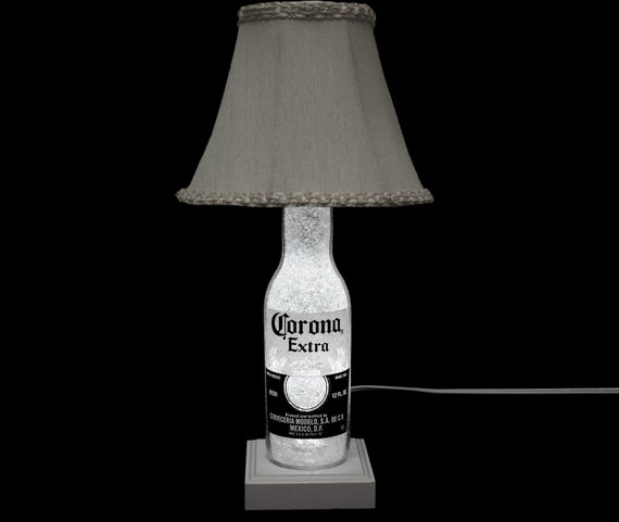 """Corona Beer Bottle Lamp -11 Year LED- With Shade -""""Diamond Like"""" Glass Crystals on Inside Surface/ Intense Sparkle & Glow"""