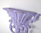 Shabby Chic Hollywood Regency Lavender and Gold Wall Pocket Purple Home Decor / Homco Vintage Decor - SALE