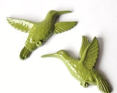 Avacado Hummingbird Pair - Garden, Patio, Outdoor Decor - SHIPS FREE WIth Purchase of Another Item