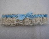 SALE - Wedding Garter - Ivory and Something Blue Lace Wedding Garter