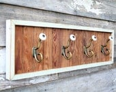 Coat Rack - Reclaimed Pine, Beadboard, Vintage Coat Hooks