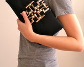 Black Twill Clutch with studded panel