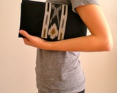 Black Twill Clutch with Ikat panel