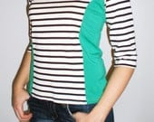 Striped 3/4 sleeve Color Blocked top
