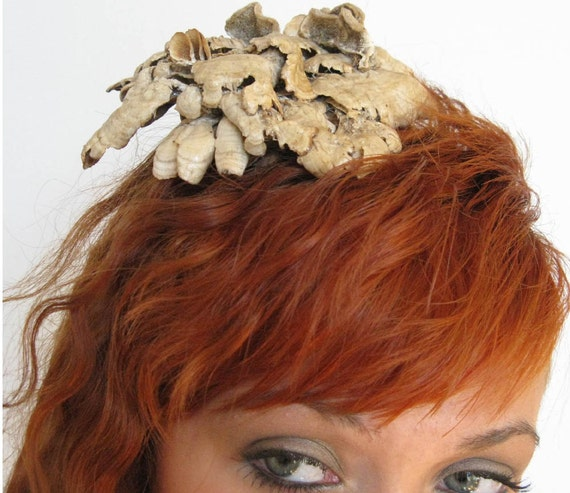 Rustic Fascinator Beret, Woodland Foraged Wild Mushrooms