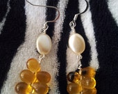 Pearl with Gold Glass Beads