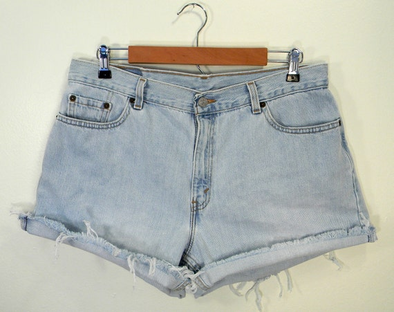 Levi's 577 High Waisted Sky Blue Cut Off Jean Shorts Size 16