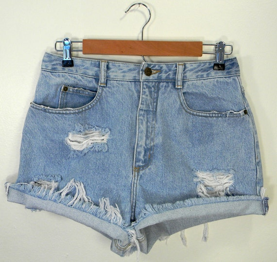 Sky Blue High-Waist Distressed Cut Off Jean Shorts Size 6/8