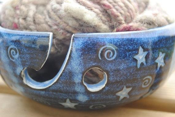 Ceramic Sgraffito Yarn Bowl (Knitting Bowl) for a Single Skein