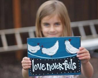 love never fails handmade card