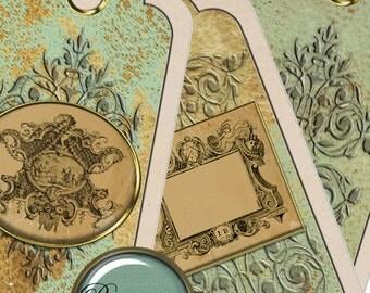 Digital Gift Tag digital printable Shabby Chic bookmark wedding printable digital printable tag wedding shabby chic wedding printable card