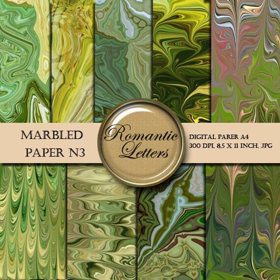 Marbled digital paper pack digital scrapbooking green paper  origami  jewelry making paper