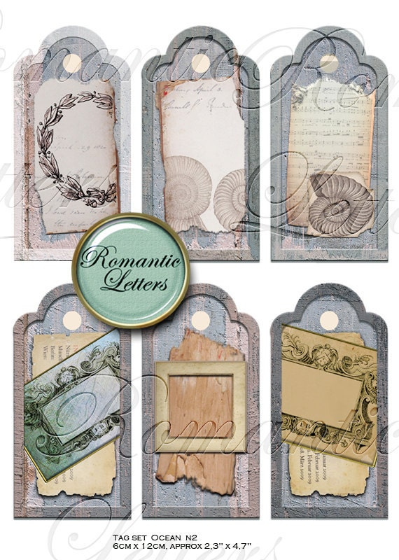 Digital gift tags set Antique Ocean 2. ATC ACEO  shabby chic greeting cards hang tags