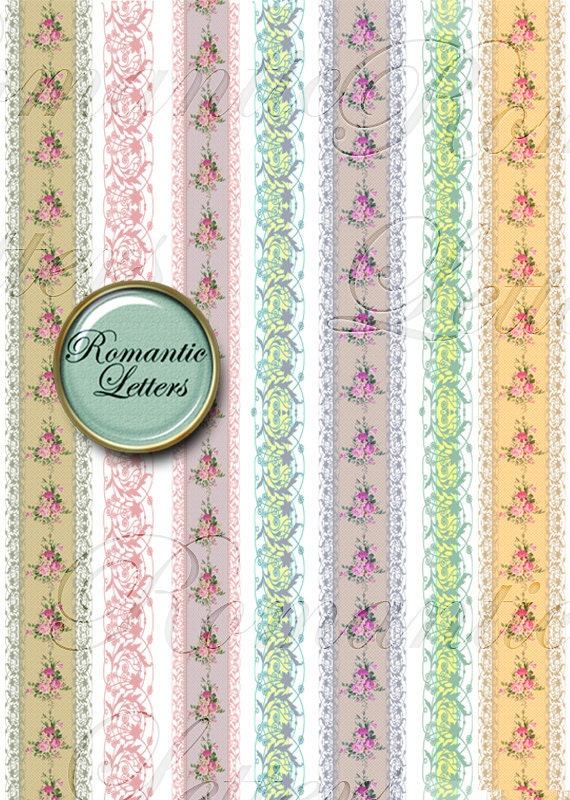 Digital Scrapbook Border Vintage Lace Floral Baby Clip Art Ribbon Shabby Chic Rose Clipart Png