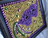 Custom Order Framed Mardi Gras bead mosaic, Mask, purple, green, gold, Christmas in July