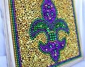 Framed Mardi Gras bead mosaic, Fleur De Lis, purple, green, gold, shabby chic frame, New Orleans, bayouland beads, bead mosaic, Custom Order