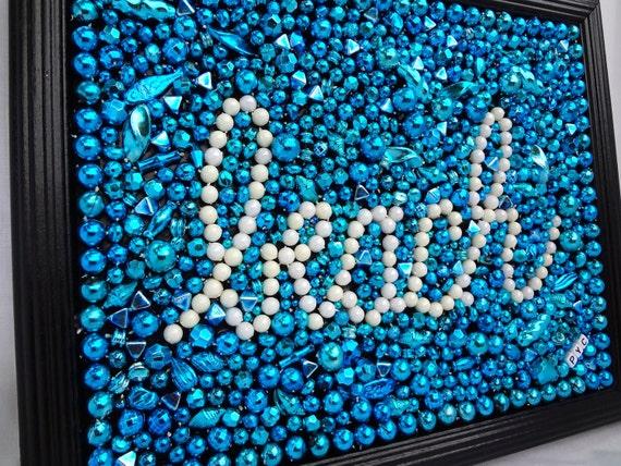 Original collage Beach art framed Mardi Gras bead mosaic, turquoise, aqua, white, fun, whimsical