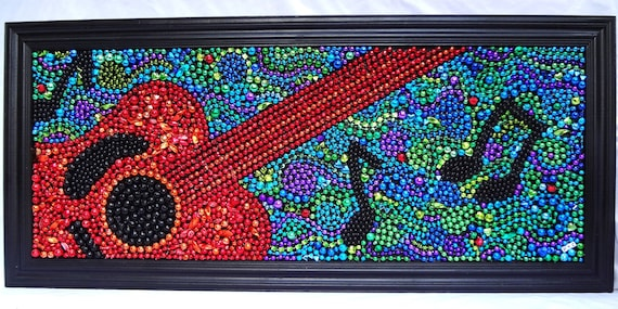 Mardi Gras bead abstract guitar mosaic art, music notes, red, orange, black, blue, green, framed art, OOAK.