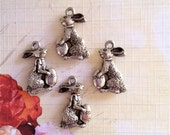 Easter Bunny w/ Egg Charms --4 pieces-(Antique Pewter Silver Finish)--style 878-Free combined shipping