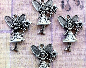 Fairy Girls with Wand Charms -3 pieces-(Antique Pewter Silver Finish)--style 663--Free combined shipping