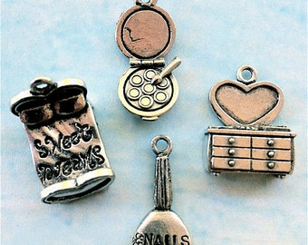 Girly Collection of Charms -10 pieces-(Antique Pewter Silver Finish)--style 684--Free combined shipping