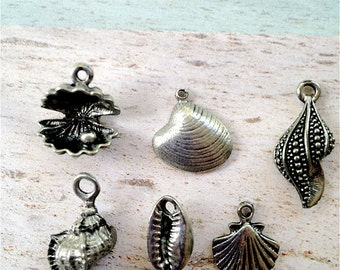 Seashell Collection -6 pieces-(Antique Pewter Silver Finish)--style 717--Free combined shipping